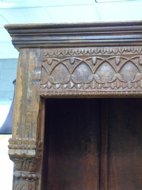 Antique Wood Carved Indonesian Bookcase w Columns - 4