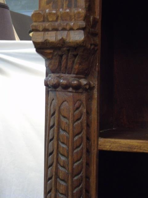 Antique Wood Carved Indonesian Bookcase w Columns - 5