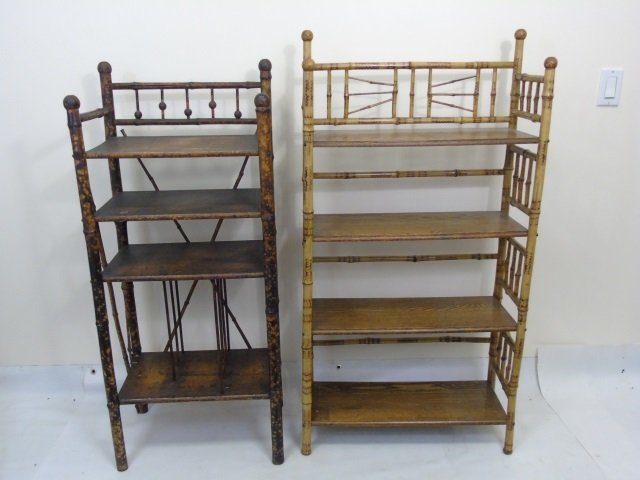 Two Antique Victorian Faux Bamboo Etageres