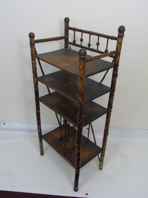 Two Antique Victorian Faux Bamboo Etageres - 4