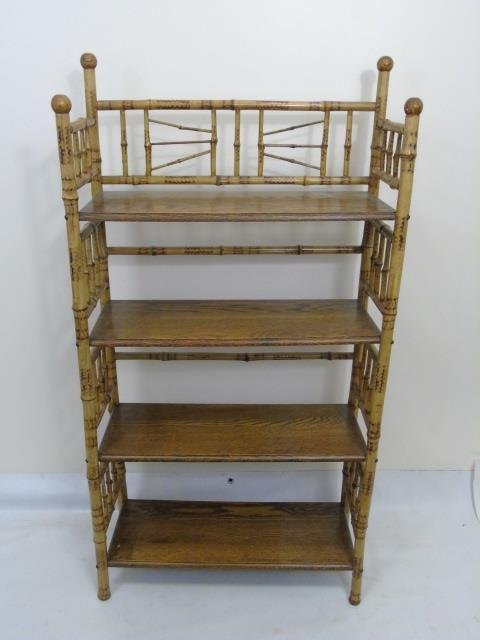 Two Antique Victorian Faux Bamboo Etageres - 5