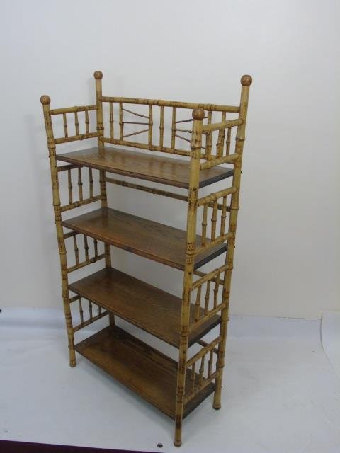 Two Antique Victorian Faux Bamboo Etageres - 7