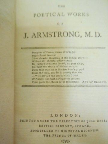 Set of 3 Antique Poetry Books Sheffield Akenside - 3