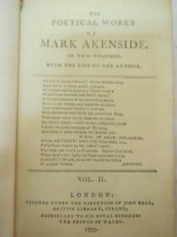 Set of 3 Antique Poetry Books Sheffield Akenside - 7