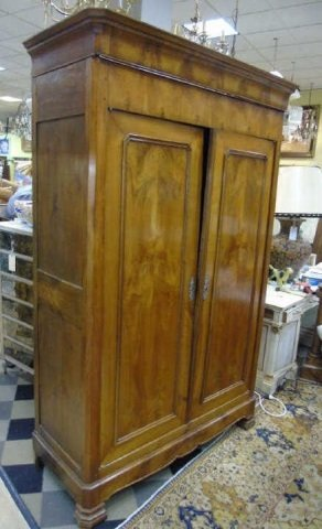 Antique French Empire 19th C Cherry Wood Armoire - 2