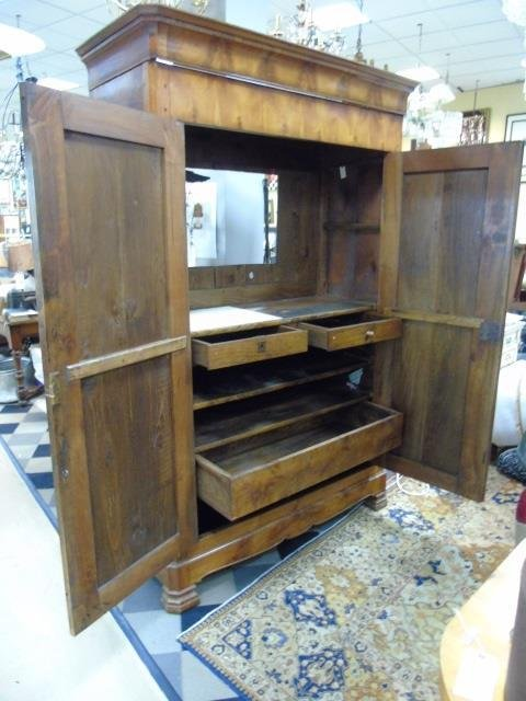 Antique French Empire 19th C Cherry Wood Armoire - 3
