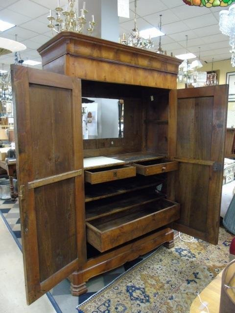Antique French Empire 19th C Cherry Wood Armoire - 4