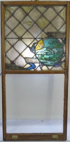 Antique Stained Glass Panel Ocean & Sea Serpent