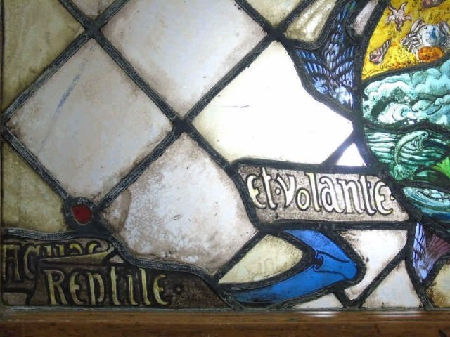 Antique Stained Glass Panel Ocean & Sea Serpent - 2