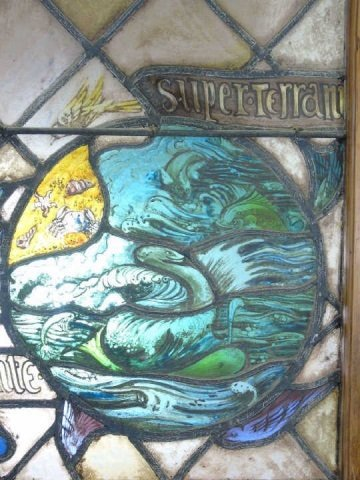 Antique Stained Glass Panel Ocean & Sea Serpent - 3