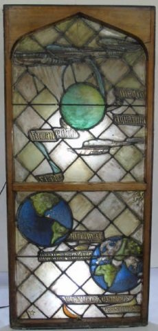 Antique Stained Glass Panel Planets Moon & Stars
