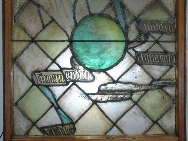 Antique Stained Glass Panel Planets Moon & Stars - 2