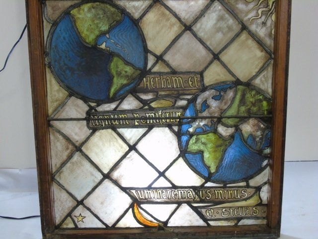 Antique Stained Glass Panel Planets Moon & Stars - 3