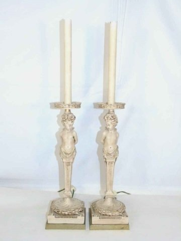 Pair Caryatid Putti Form Candlestick Table Lamps