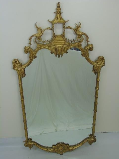 Chinese Chippendale Style Gold Leaf Carved Mirror