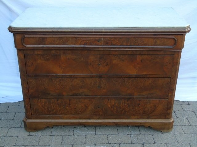 Antique Victorian Style Marble Top Chest of Drawer - 2
