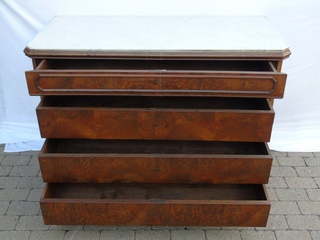 Antique Victorian Style Marble Top Chest of Drawer - 4