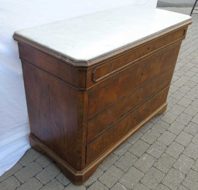 Antique Victorian Style Marble Top Chest of Drawer - 7