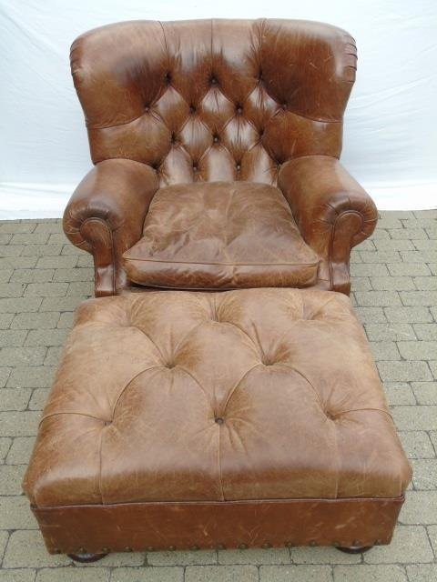 Contemporary Ralph Lauren Tufted Leather Armchair