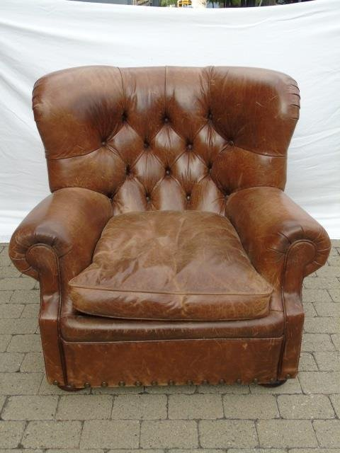 Contemporary Ralph Lauren Tufted Leather Armchair - 2
