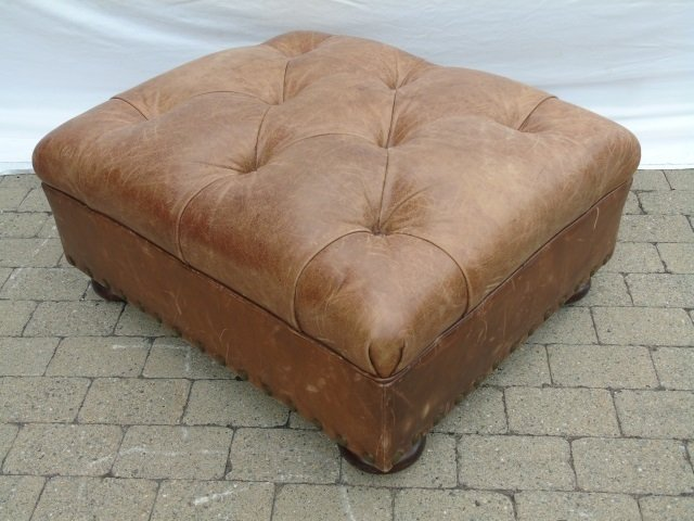 Contemporary Ralph Lauren Tufted Leather Armchair - 6