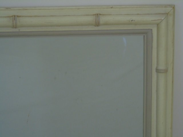 Mid Century Faux Bamboo Carved Frame Mirror - 2