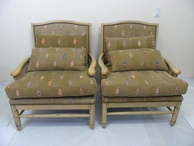 Pair Carved Wood Frame Upholstered Armchairs