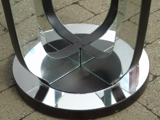 Contemporary Hollywood Regency Mirrored End Table - 3