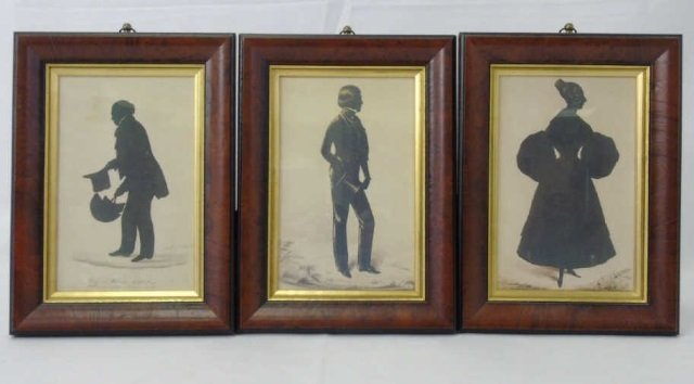 Three Framed English Victorian Style Silhouettes