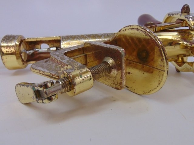 Mid Century Modern Brass Table Clamp Cork Screw - 2