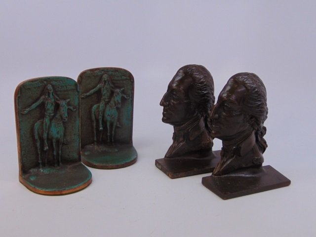 Two Pairs Bookends - George Washington / Indians