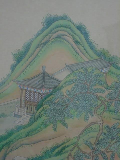 Chinese Landscape w Figures Watercolor Painting - 4