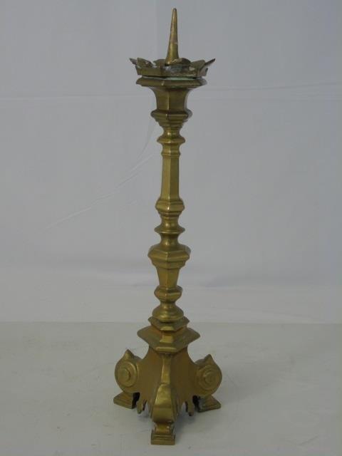 Antique 19th C Gilt Brass Candlestick Pricket - 2