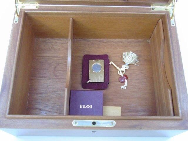 Elie Bleu Paris Burl Wood Cigar Humidor w Key - 2