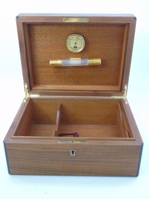 Elie Bleu Paris Burl Wood Cigar Humidor w Key - 4