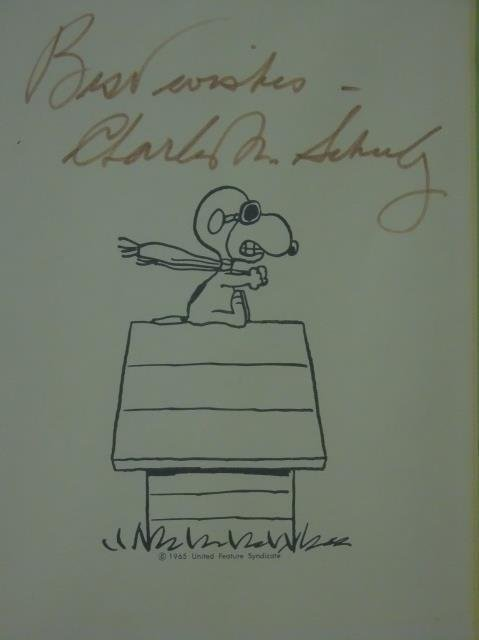 Signed Charles Schultz Framed Snoopy Print - 2