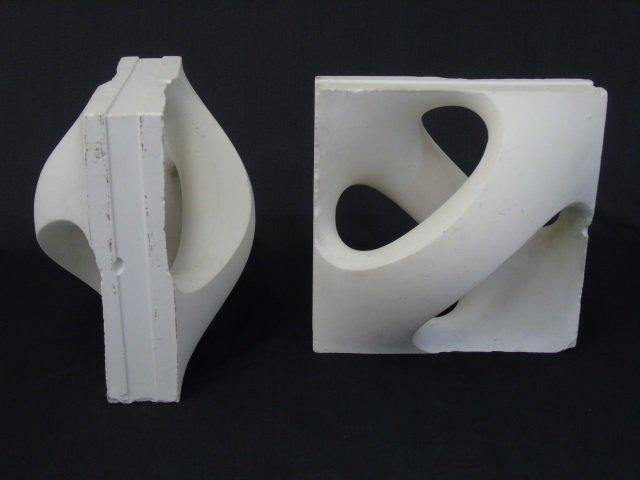 Pair Sculptural Mid Century Book Ends - 2