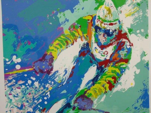 LeRoy Neiman 1980 Framed Print of a Skiier - 2