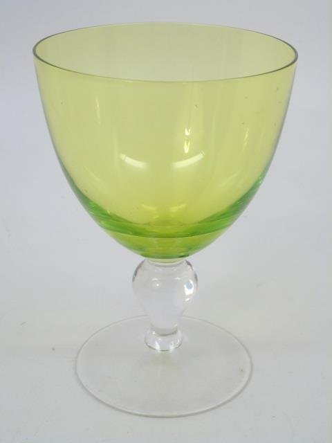Vintage Green Clear Glass Stemware Service for Six - 2