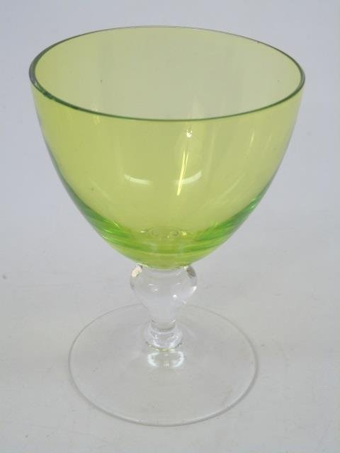 Vintage Green Clear Glass Stemware Service for Six - 4