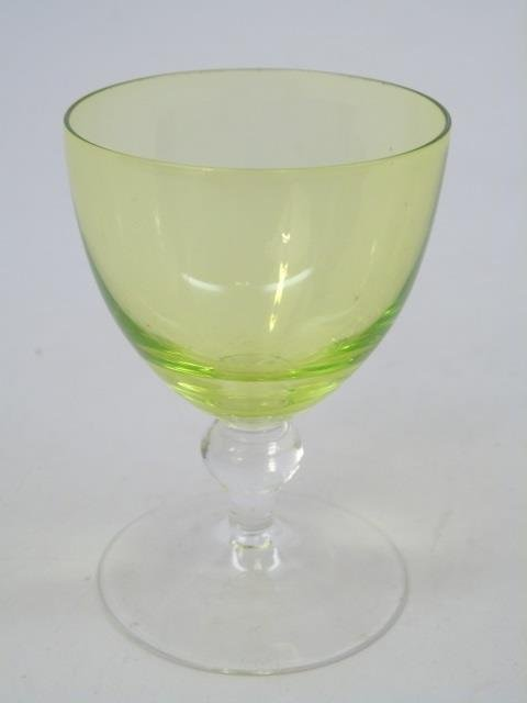 Vintage Green Clear Glass Stemware Service for Six - 5