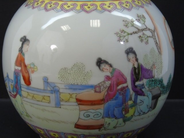 Chinese Famille Rose Baluster Vase w Tea Party - 4