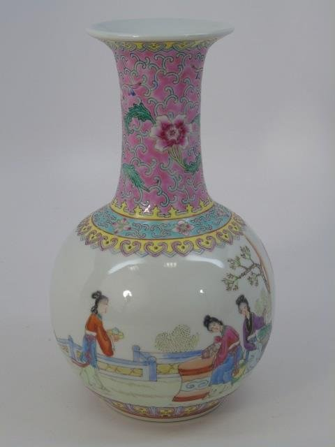 Chinese Famille Rose Baluster Vase w Tea Party - 5