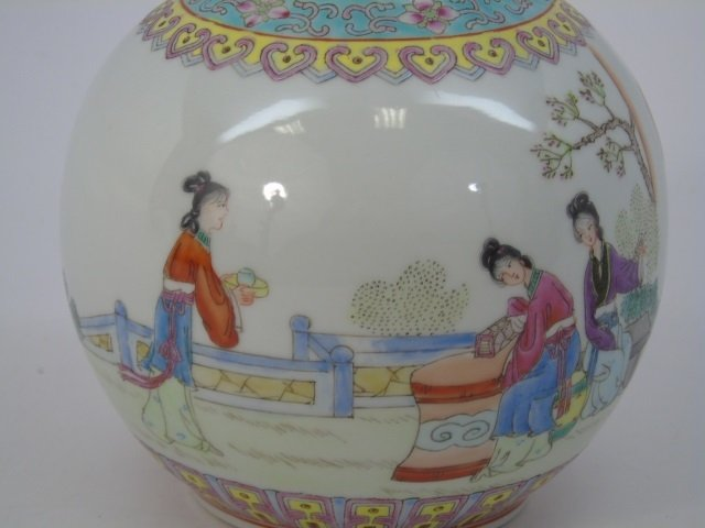 Chinese Famille Rose Baluster Vase w Tea Party - 6