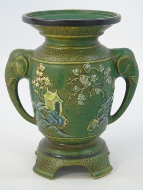 Qing Chinese Green Vase w Elephant Trunk Handles
