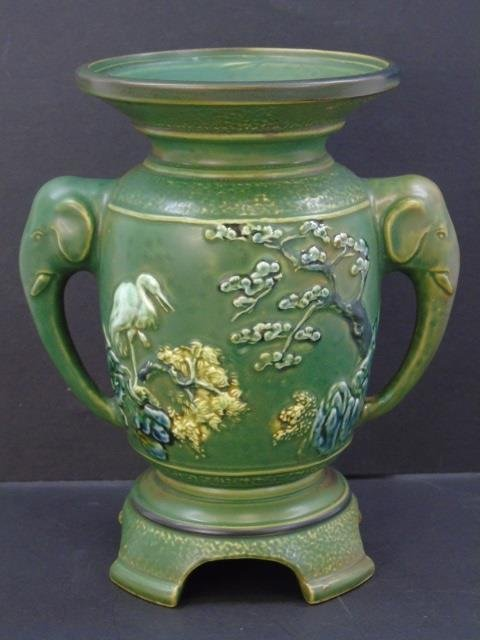 Qing Chinese Green Vase w Elephant Trunk Handles - 2