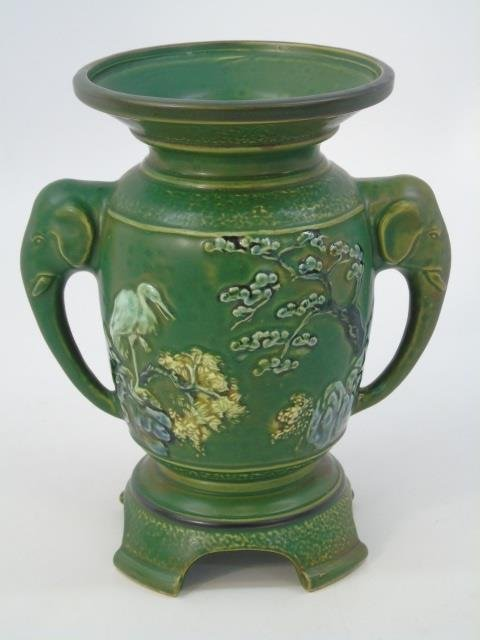 Qing Chinese Green Vase w Elephant Trunk Handles - 3