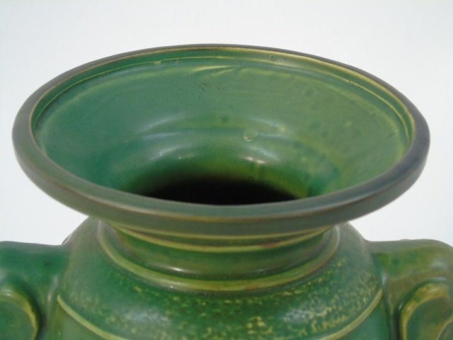 Qing Chinese Green Vase w Elephant Trunk Handles - 4