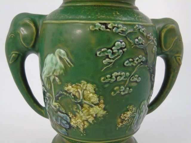 Qing Chinese Green Vase w Elephant Trunk Handles - 5