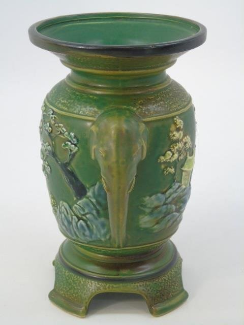 Qing Chinese Green Vase w Elephant Trunk Handles - 7